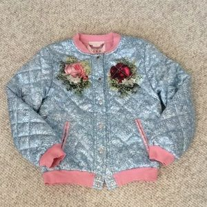 Paper Wings rose 🥀 and cat 🐱 quilted bomber